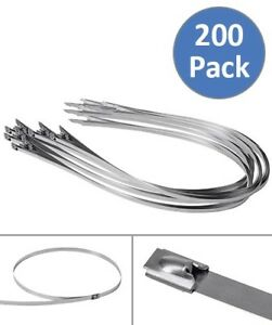 200 Pcs 39 3 Stainless Steel Header Wrap Straps Tie Self Locking Cable Zip Ties