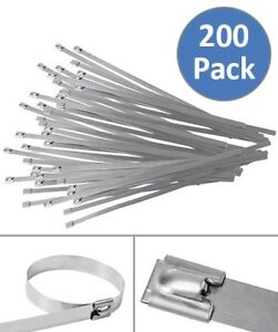 200 Pcs 15 7 Stainless Steel Cable Zip Ties Header Wrap Straps Self Locking Tie
