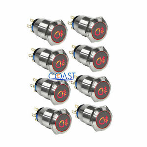 2x Durable 12v 19mm Car Push Latching Button Red Fog Light Metal Led Switch