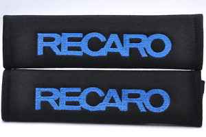 Blue On Black Embroidery Seat Belt Cover Shoulder Pad Pair Recaro Logo