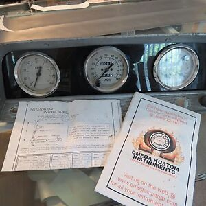 1964 1966 Chevy Pickup Dash Instrumental Panel Cluster W new Omega Kustom Gauges