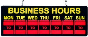 Corded Hanging Indoor Vibrant Red Led Light Business Hours Sign W Week Days New