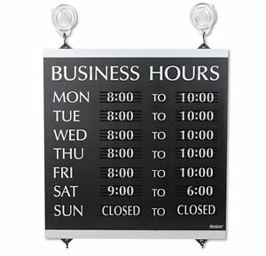 Window Mount Hours Of Operation Sign Indoor Business Hours Sign W Week Days New