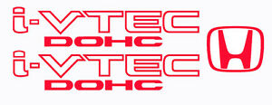 Honda I Vtech Dohc Decal Stickers Set Of 3 Civic Accord Prelude Crx Si Red