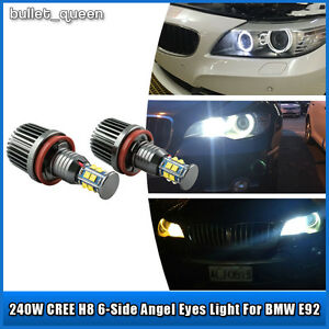 2x 120w H8 Cree Led Angel Eyes Ring Marker 6000k Bulbs For Bmw 1 3 5 Series E92