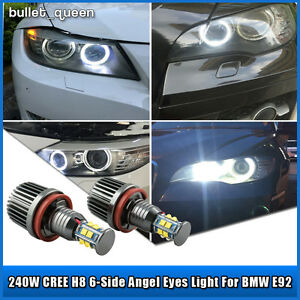 2x 120w Cree H8 Led Angel Eyes Halo Ring Light Bulbs Hid Bright White For Bmw