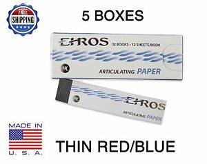 5 Boxes Dental Articulating Paper Thin 0 003 Red blue 780 Sheets Made In Usa