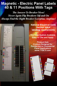 Magnetic And Color coded 40 11 Circuit Breaker Box Electric Panel Label Sets
