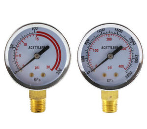 Low And High Pressure Gauges For Acetylene Regulator 2 Inches 1 4 Npt pair