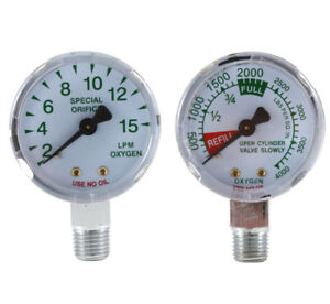 0 4000 Psi And 0 15 Lpm Gauges For Oxygen Regulator 2 Inches pair