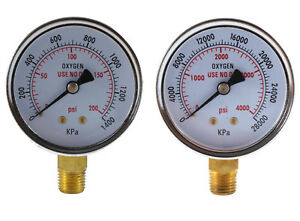 Low And High Pressure Gauges For Oxygen Regulator 2 5 Inches 1 4 Npt pair