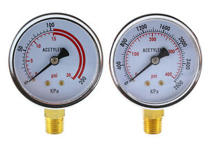 Low And High Pressure Gauges For Acetylene Regulator 2 5 Inches 1 4 npt pair