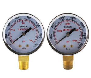 Low And High Pressure Gauges For Oxygen Regulator 2 Inches 1 4 Npt pair