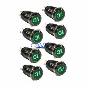 8x Durable 19mm Car Push Black Latching Button Green Led Driving Light Switch