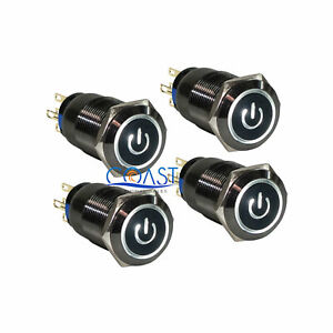 4x Durable 19mm Car Push Black Latching Button Housing White Led Power Switch