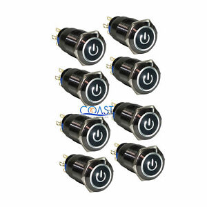 8x Durable 19mm Car Push Black Latching Button Housing White Led Power Switch