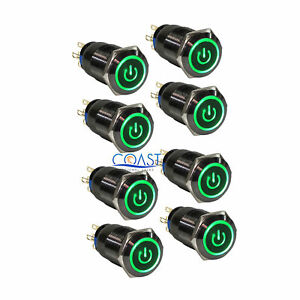8x Durable 19mm Car Push Black Latching Button Housing Green Led Power Switch