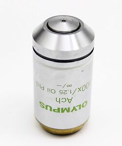 Olympus Ach 100x 1 25 Oil Ph3 Phase Contrast Microscope Objective Cx Ax Bx Ix