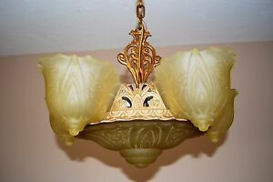 6 Light Art Deco Slip Shade Chandelier From The 1930 S