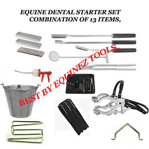 Equine Dental Kit Set Speculum Forceps head Stand Dental Picks Syringe Equine