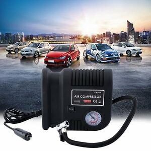 Air Compressor Portable Pump 300 Psi Auto Car Suv Tire 12v Volt 3 Adapters