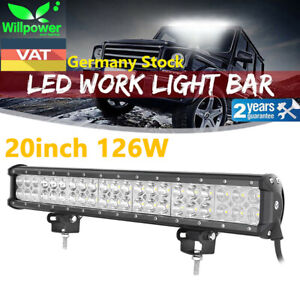 20inch 126w Cree Led Light Bar Flood Spot Work Driving Offroad 4wd Truck Atv Ute