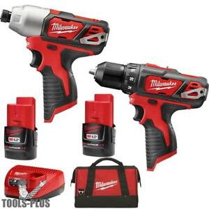 Milwaukee 2497 22 M12 12 Volt Lithium ion Cordless Hammer Drill impact Combo New