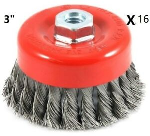 Wire Cup Brush Twist 3 X 5 8 11 Nc Fine Knot Wire For Angle Grinders Wheel X16