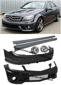 Amg Style Front Rear Bumper Fog Side Skirts For 08 11 W204 C Class Sedan W Pdc
