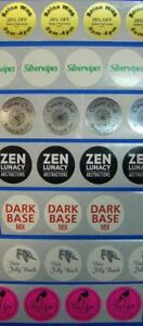 250 Custom Printed Labels 1 Round With 1 ink Color Laminated Clear Coating