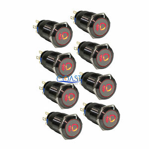 8x Durable 19mm Car Push Gray Latching Button Housing Red Fog Light Led Switch