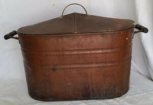 Antique Copper Boiler Washtub With Zinc Lid Wood Handles Large