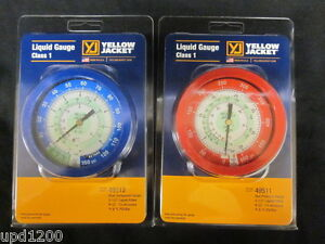 Yellow Jacket 49511 49512 3 1 2 Liquid Filled R22 Gauges no Manifold