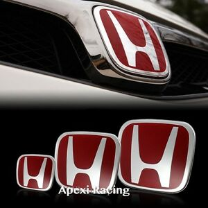 Apexi Set Of 3 Red Front Rear Steering Emblem Badge Civic Si Coupe 2006 2011