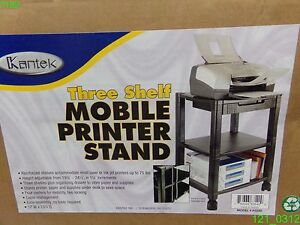 Kantek Mobile Printer Stand Three shelf 17w X 13 1 4d X 24 1 4h Black Ps540