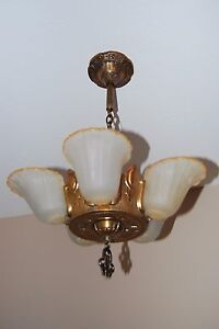 Art Deco Five Light Slip Shade Chandelier From The 1930 S