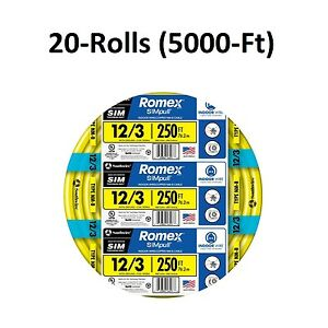 5000 ft 20x 250 Roll 12 3 Awg Gauge Nmb Indoor Electrical wire Romex Cable Lot