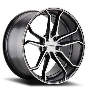 4 Pcs 20 Staggered Varro Wheels Vd02 Gloss Black W Brushed Face Rims