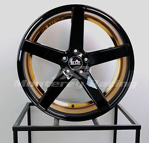20x9 5x108 Str 607 Black W Copper Lip Ford Jaguar Volvo