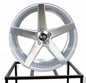 22x9 5x120 Str 607 Silver Machine Face Bmw Camaro Low Offset
