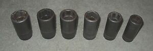 Snap On 1 2 Drive 6 Peice 6 Pt Metric Deep Impact Socket Lot 26 Mm 36 Mm