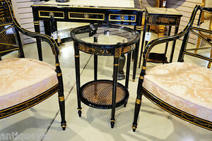 Gorgeous Black Lacquer Chinese Chinoiserie Glass Cane Occasional Lamp Table
