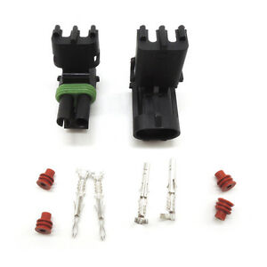 Weather Pack 50sets Kit 2 Pin Waterproof Electrical Wire Connector Plug 16 14 Ga