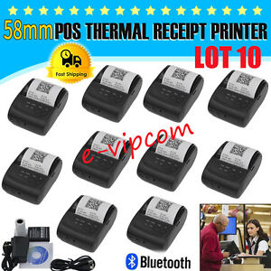 Lot 10 58mm Bluetooth Wireless Pocket Mobile Thermal Receipt Printer For Android