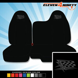 04 12 Chevy Colorado 60 40 Bench Solid Blk Seat Covers Racing Flag Choose Color