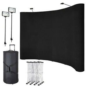 10ft Portable Display Trade Show Booth Exhibit Black Pop Up Kit Spotlights