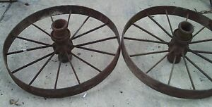 Pair Of Steel Wagon Wheels 36