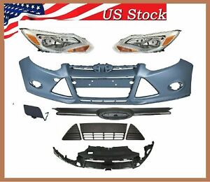 Fit 2012 2014 Ford Focus Bumper Headlight Set Bracket And Grilles Fo1000664