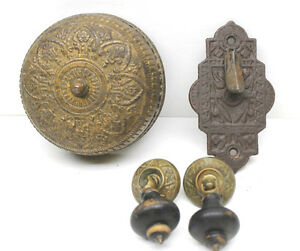 Victorian Entry Through Door Metal Doorbell Ringer Parts 2 Free Wood Door Pulls