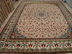 Rare Floral Medallion Hand Knotted Rug Wool Silk Carpet 10x14 Fb 4751